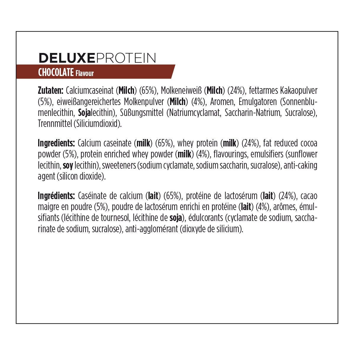 Powerbar Deluxe Protein Chocolate Proteína en Polvo con Caseína y Proteína de Suero de Leche - 500 gr