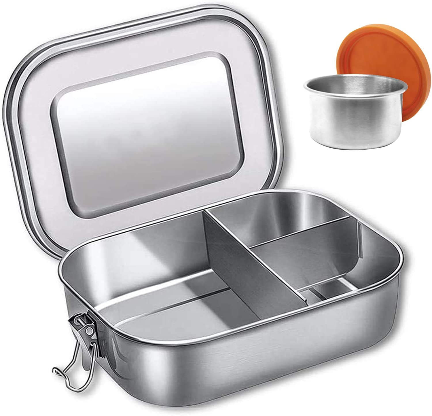 Stainless Steel Bento Box, 1400ML 3 Divided Compartments Kids Or Adult Large Lunch Container Foods Snack Packer with Dip Condiment Box for Fruits, Vegetables and Sandwich, Salad