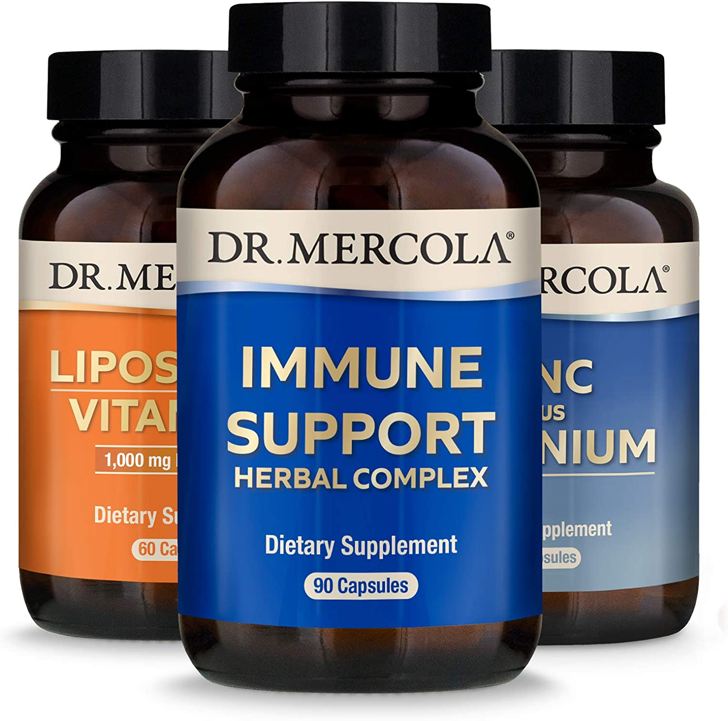 Dr. Mercola Immune Support Pack, Pack of 3 Bottles (30 Servings Each), Liposomal Vitamin C, Zinc Plus Selenium, Supports Immune and Overall Health*, Non GMO, Gluten Free, Soy Free
