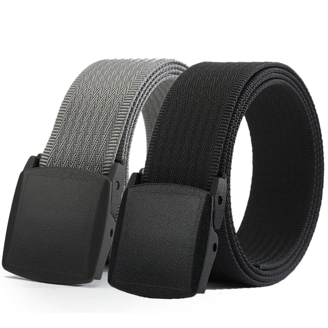 WYuZe Mens Nylon Webbing Belt No Metal Buckle Military Tactical Canvas Web Belt
