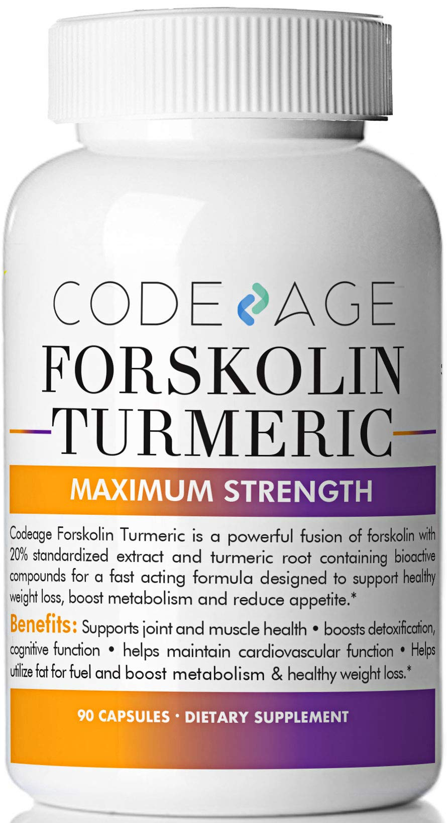 Codeage Turmeric Forskolin Formula for Men and Women Forskolin 20 Percent Standardized Extract and Turmeric Root 95 Percent, Coleus Forskohlii, 90 Capsules by Codeage