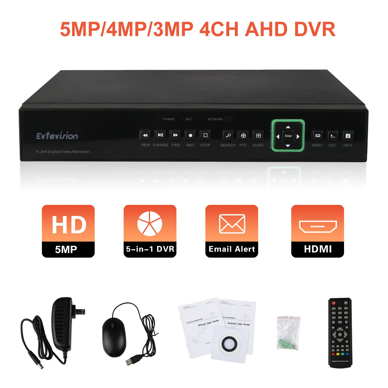 Evtevision 4 Channel 5MP/4MP AHD DVR Security Standalone Video Recorder, Support 4CH 5MP/4MP AHD DVR, 5-in-1 1080P (CVI/TVI/AHD/IP) & Analog 960H, Hard Drive NOT Included, Remote Smartphone Access