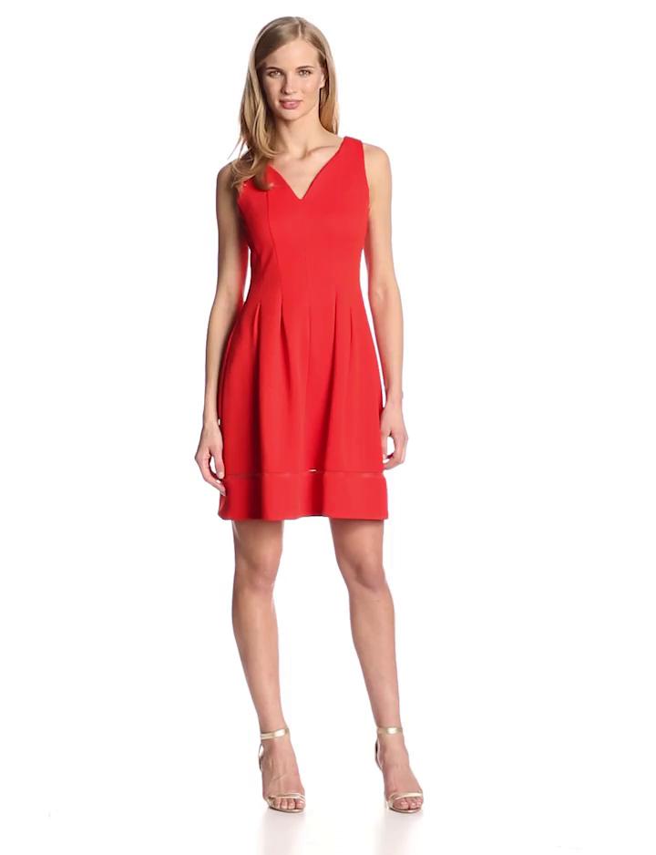 Taylor Dresses Women's Sleeveless V Neck Flare Dress, Blaze, 4