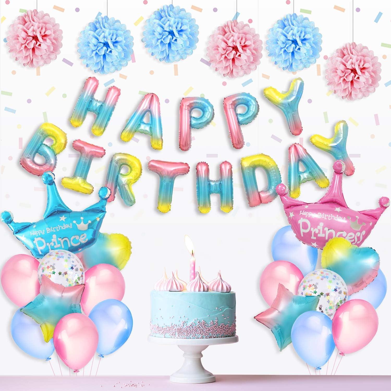 Geburtstag Dekoration Set Happy Birthday Banner Girlande Dreieckige Wimpel Mit hochwertig Latexballon PushingBest Geburtstagsdeko Papier Pompoms und Spiralen Dekoration Stern // Herz Folienballons