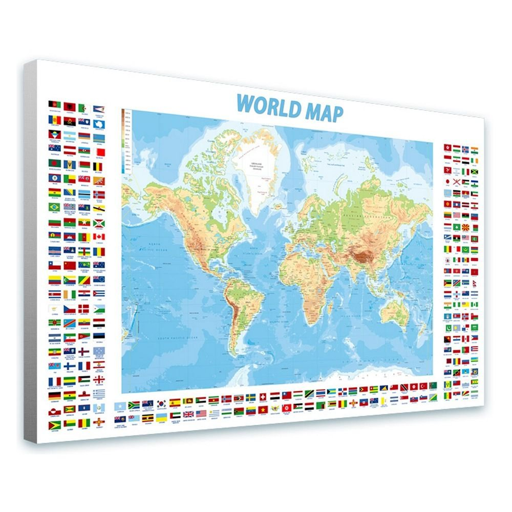 Alonline Art - Physical Modern Flags #2 by World Map | framed stretched canvas on a ready to hang frame - 100% cotton - gallery wrapped | 42x27 - 106x69cm | Wall art home decor for office artwork Alonline Art Studio
