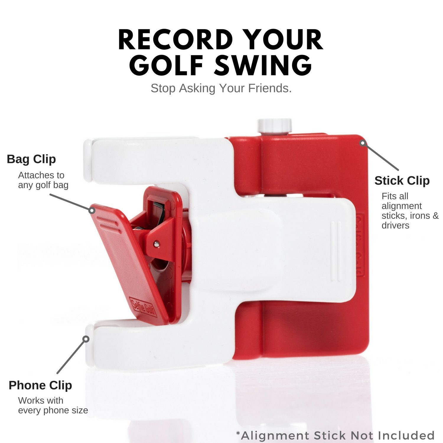 SelfieGolf Record Golf Swing - Cell Phone Clip Holder and Training Aid by TM - Golf Accessories | The Winner of The PGA Best of 2017 | Compatible with Any Smart Phone (Red/White) by Selfie Golf (Image #3)
