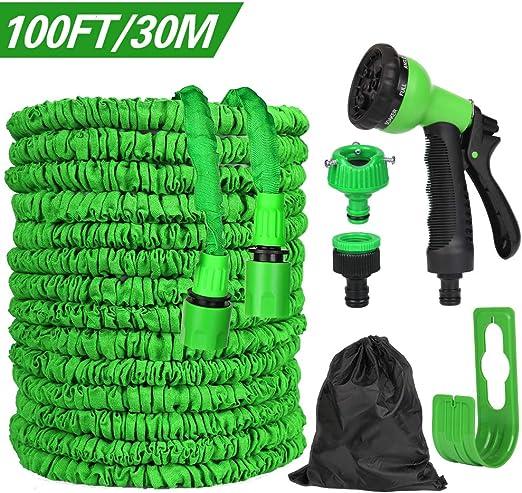 Flexible Manguera de Jardín, 100 FT 30m Flexible Mangueras de Jardín Extensible, Manguera Flexible Flexi Wonde Manguera de Jardín Flexible con Ducha de Mano de Jardín de 7 Funciones: Amazon.es: Jardín