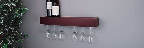 kieragrace Pinot Series Shelf with Wine Glass Rack - 24x3x5-Inch - Holds 6 Wine Glasses, Espresso