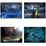 FANTASY DRAGONS Set of 4 Modern Canvas Wall Art Picture Print Set Each 12x8 inch Hand Made In The UK