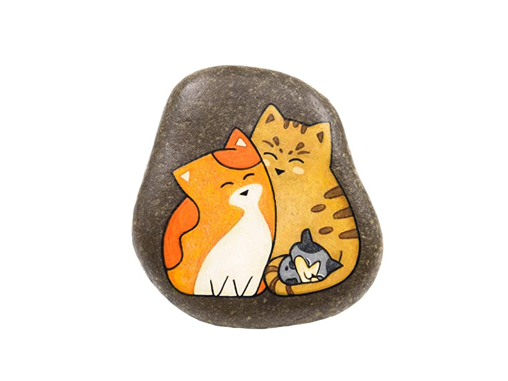Familia de Gatos, Piedra Pintada a Mano, para Colgar: Amazon.es: Handmade
