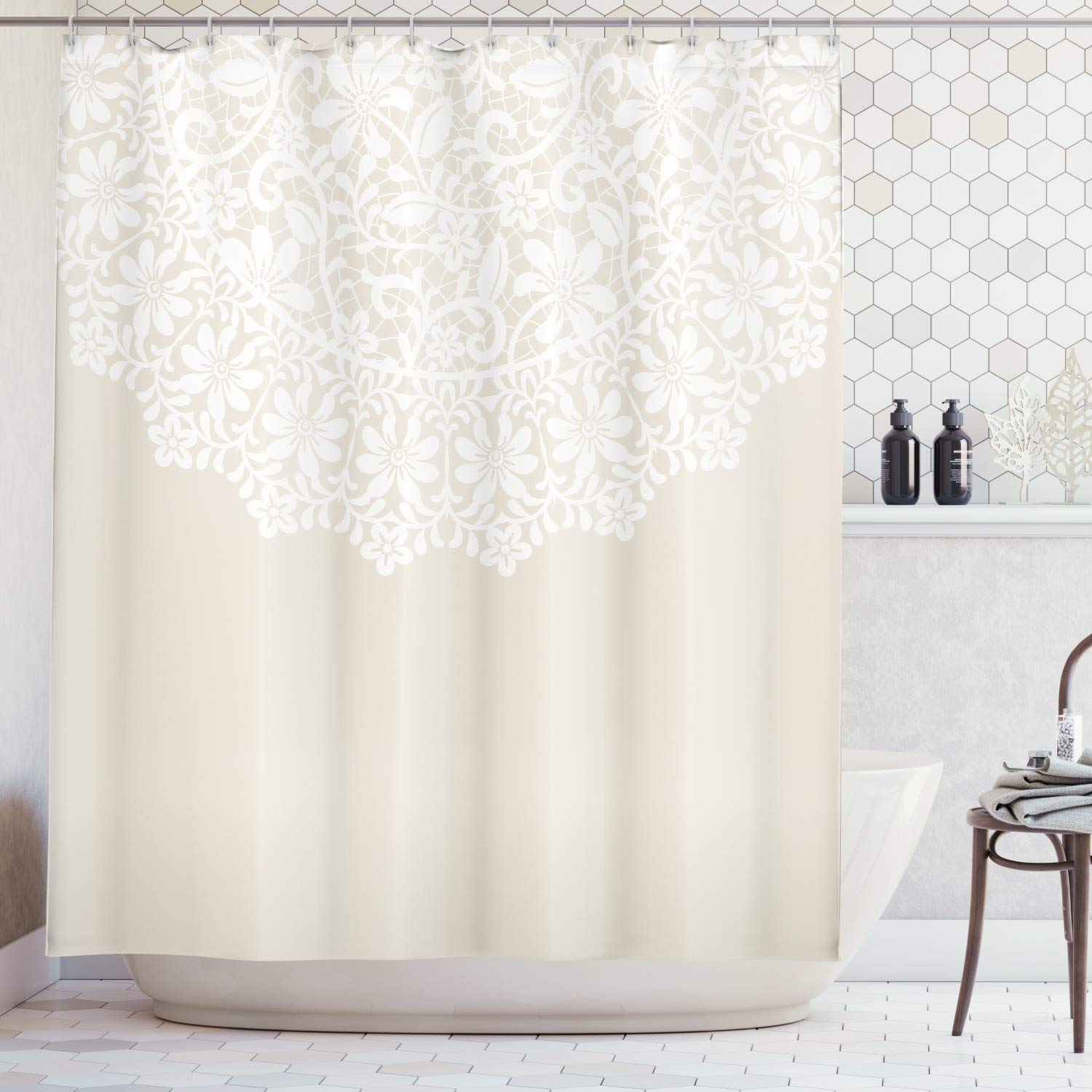 Lunarable Cream Shower Curtain, Mandala Inspired Round Motif in Half Ornamental Flowers Graphic Lace Border Print, Fabric Bathroom Decor Set with Hooks, 105 Inches Extra Wide, Tan White