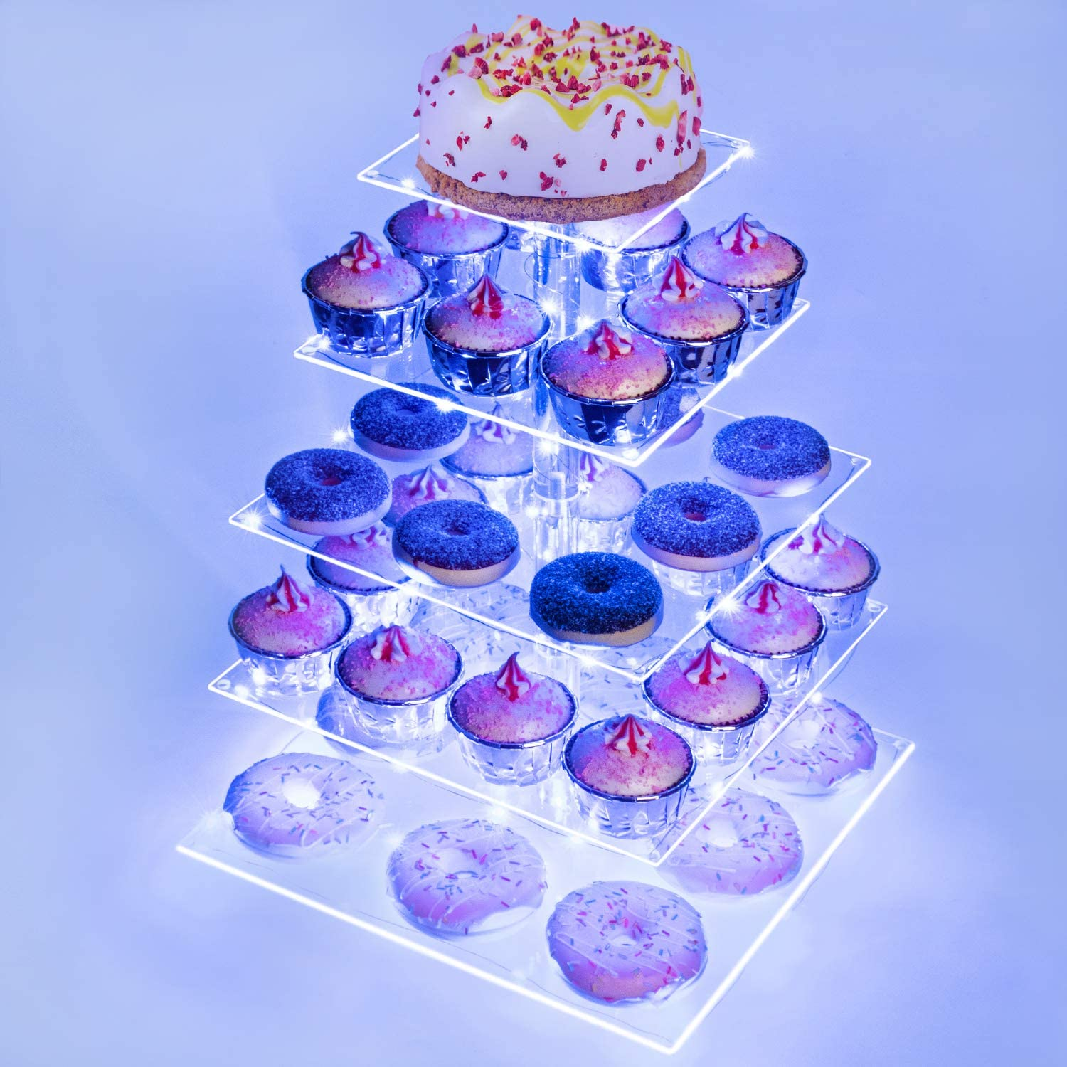 Weddingwish 5 Tier Square Acrylic Cupcake Stand-Cake Stand-Dessert Stand-Cupcake holder-Pastry serving platter-Candy Bar Party Décor- Wedding Birthday Holidays,Christmas(Blue Light)