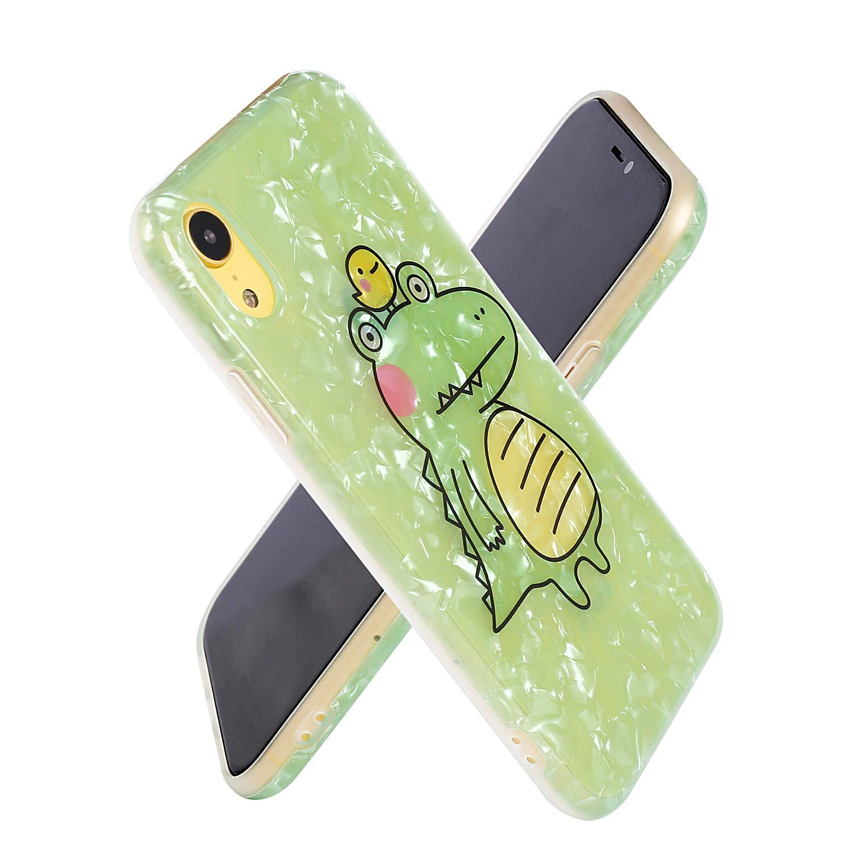 RicHyun Kids Cute Dinosaur Pattern Soft Pearly Lustre TPU Shockproof Case for iPhone XR (Mint Green)