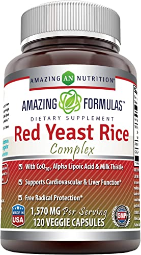 Amazing Formulas Red Yeast Rice Complex 1570 mg per Serving 120 Veggie Capsules Non-GMO,Gluten Free -with Coq10, Alpha Lipoic Acid Milk Thistle -Supports Cardiovascular Liver Function*