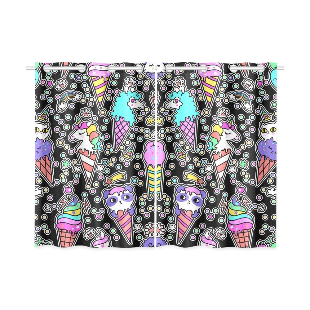 your-fantasia Window Curtain Ice Cream Pattern With Animals Home Decor Kitchen Curtain Two Pieces 26 x 39 inches