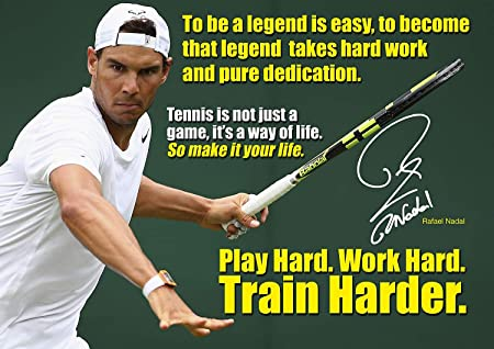 Salopian Sales Rafael Nadal Poster 26 Motivational Quotes Tennis Legend Champion A3 Poster Print Picture Amazon Co Uk Kitchen Home
