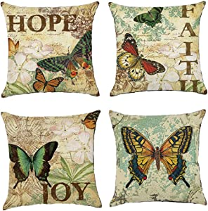 NEJLSD Throw Pillow Covers 18x18 inch Modern Decorative Cotton Linen Square Pack of 4 Throw Pillow Covers Cushion Case for Sofa, Bed, Car (Corlorful)