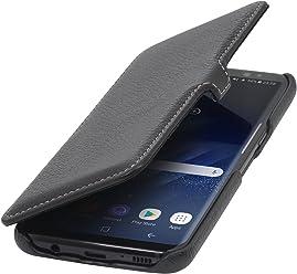 StilGut Book Type Case con Clip, custodia a libro booklet in vera pelle per Samsung Galaxy S8, Nero
