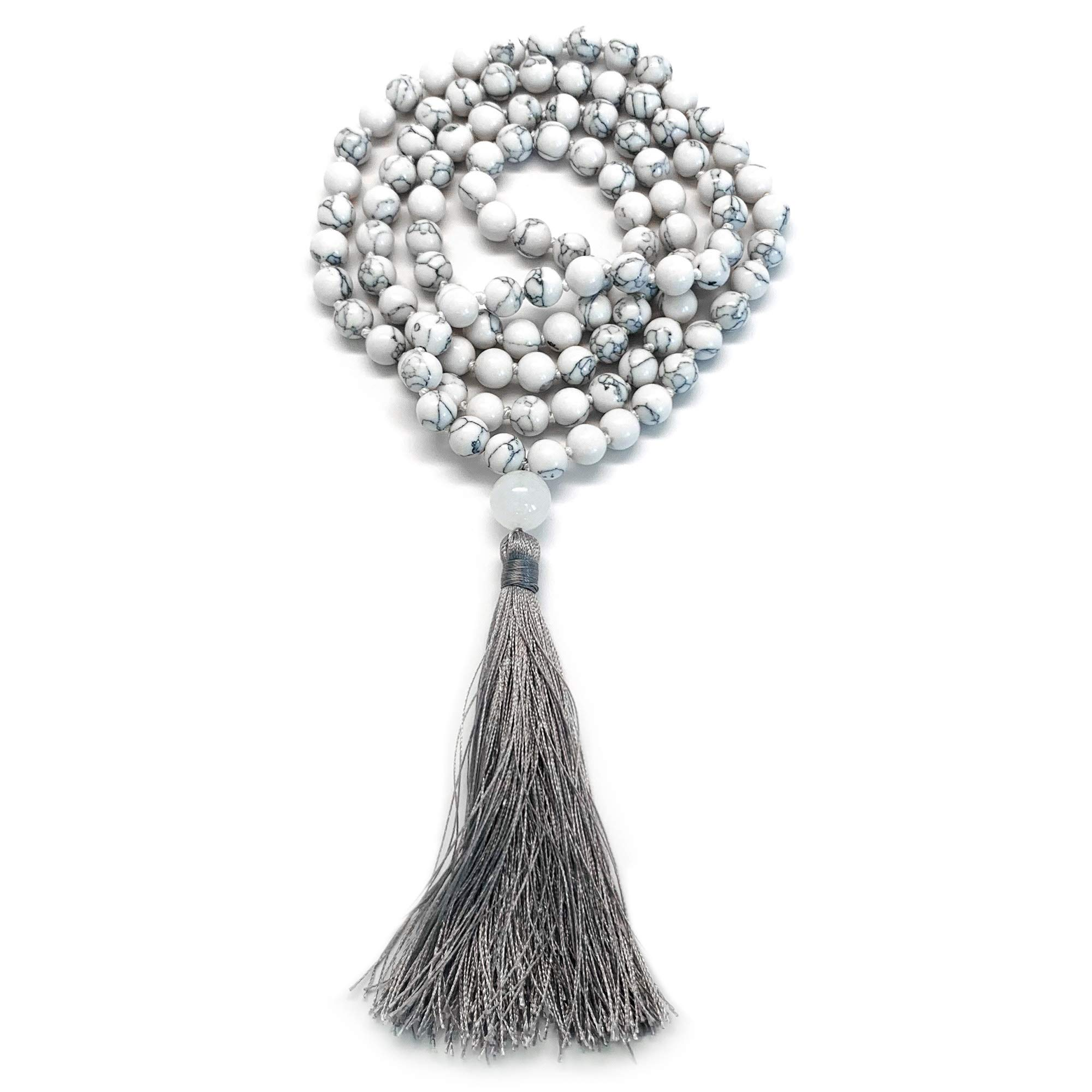 108 Bead Mala Necklace & Bracelet With Tassel By Aspen & Eve - 8mm Stone Beads - Strand 108 Beads Necklace For Mindfulness & Yoga (White Howlite) by Aspen & Eve