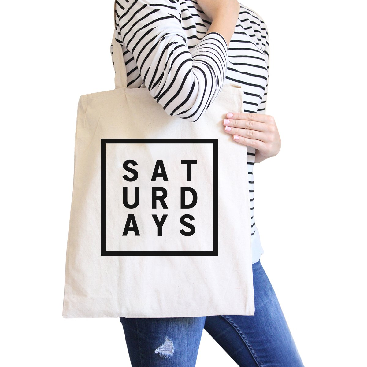 365 Printing Saturdays Natural Canvas Bag Trendy Typography Tote Bag Gift Ideas