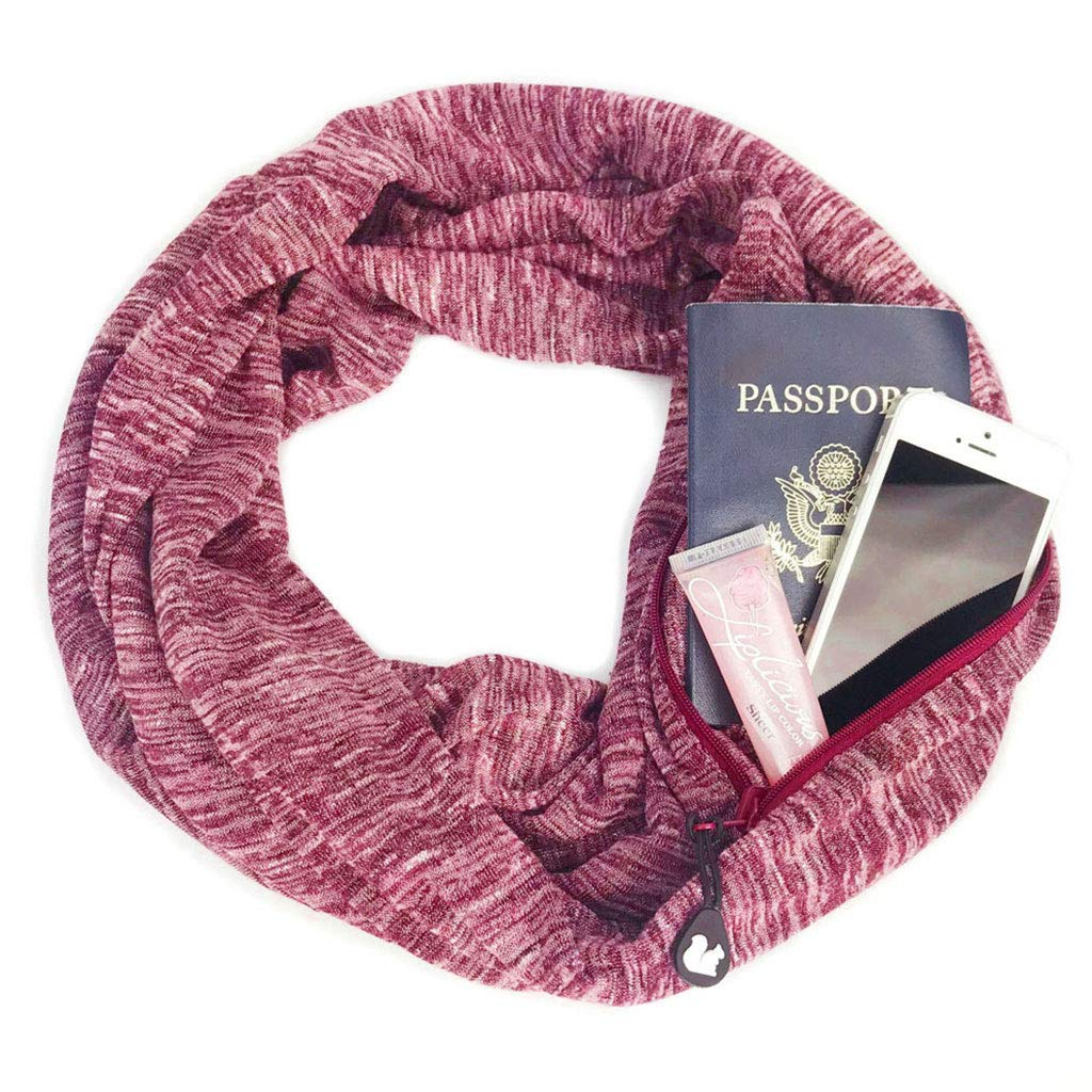 Autumn Womens Double Layer Zipper Pocket Infinity Loop Scarf for Winter
