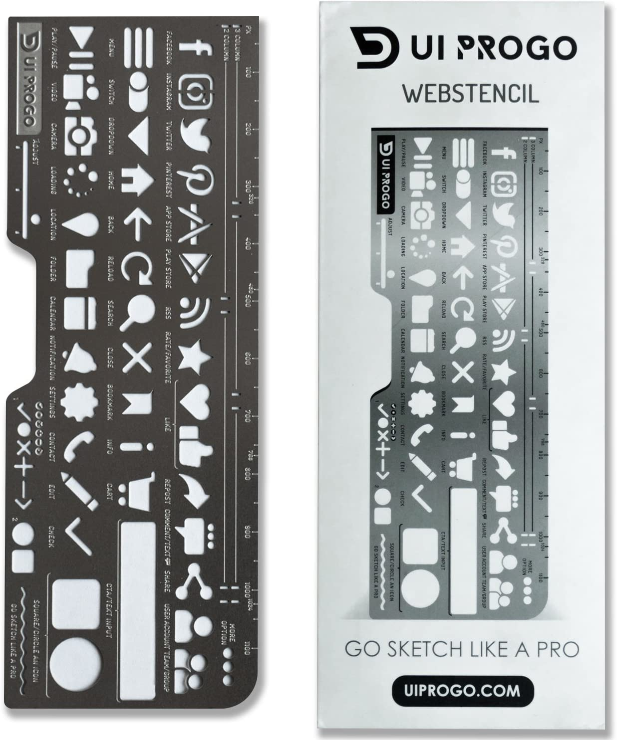 UI PROGO Stainless Steel Stencils for Portable Drawing - Perfect for UI UX Design Material - Large Icons for Easy Stenciling - Includes Social Media Icons – Webstencil