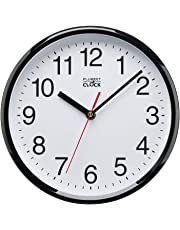 "Plumeet Silent Sweep Wall Clock, 10"" Silent Non Ticking Quality Quartz Black Wall Clock Decorative Home/Kitchen/Office/School Clock, Easy to Read, Battery Operated (Black)"