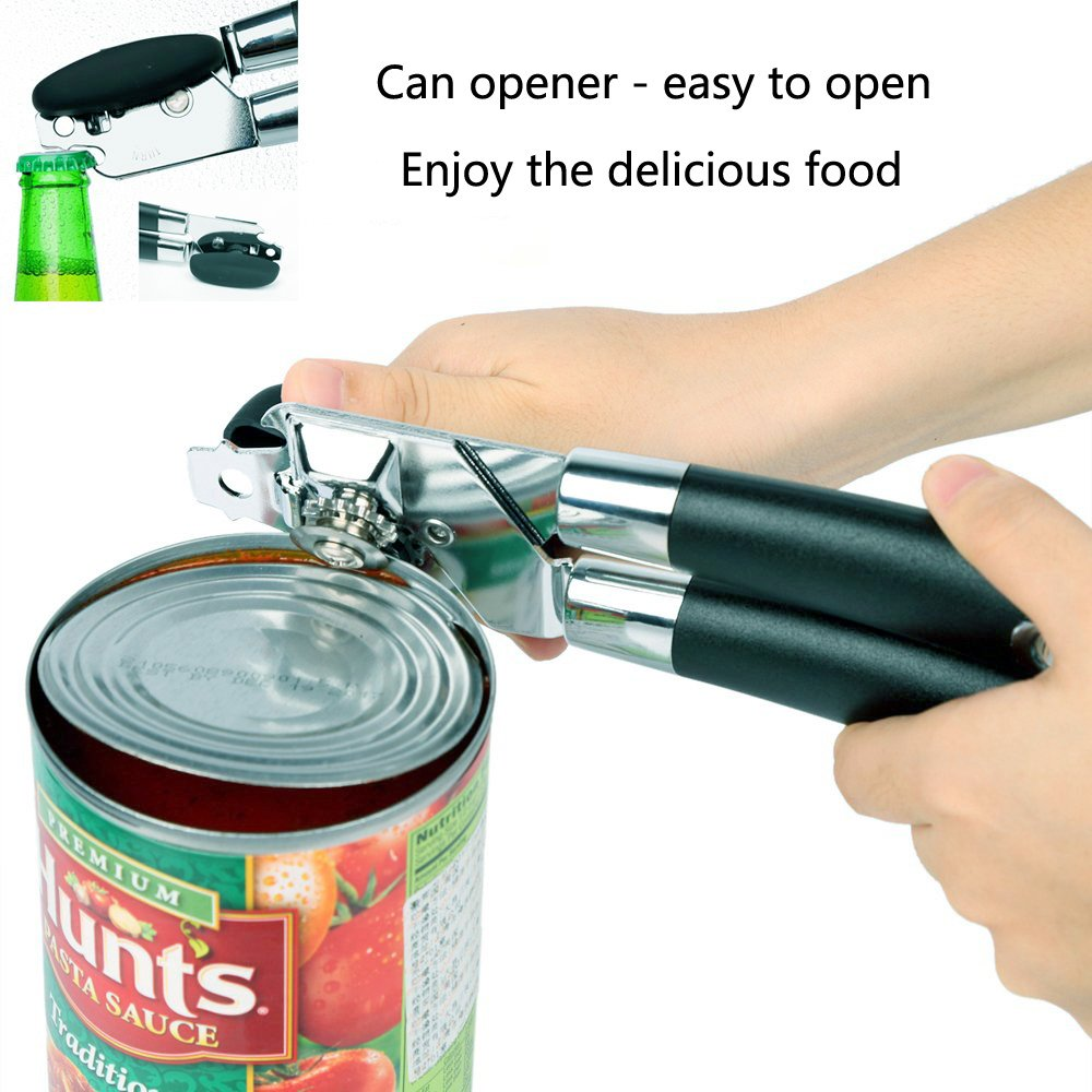 Manual Can Opener Heavy Duty, Premium Stainless Steel Sharp Blade Built in Bottle Opener with Easy Turn Knob and Ergonomic Anti-skid Handles by LOONG