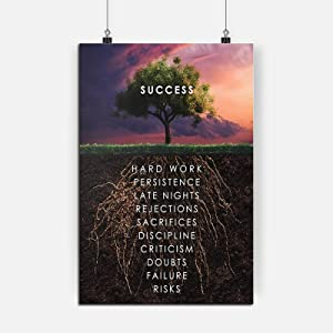 RINWUNS Canvas Wall Art Roots of Success Tree, Inspirational Quote Poster Motivational Motto Print Painting Modern Home Decor No Frame Picture for Living Room School Office -12x16in 1PC (Only Canvas)