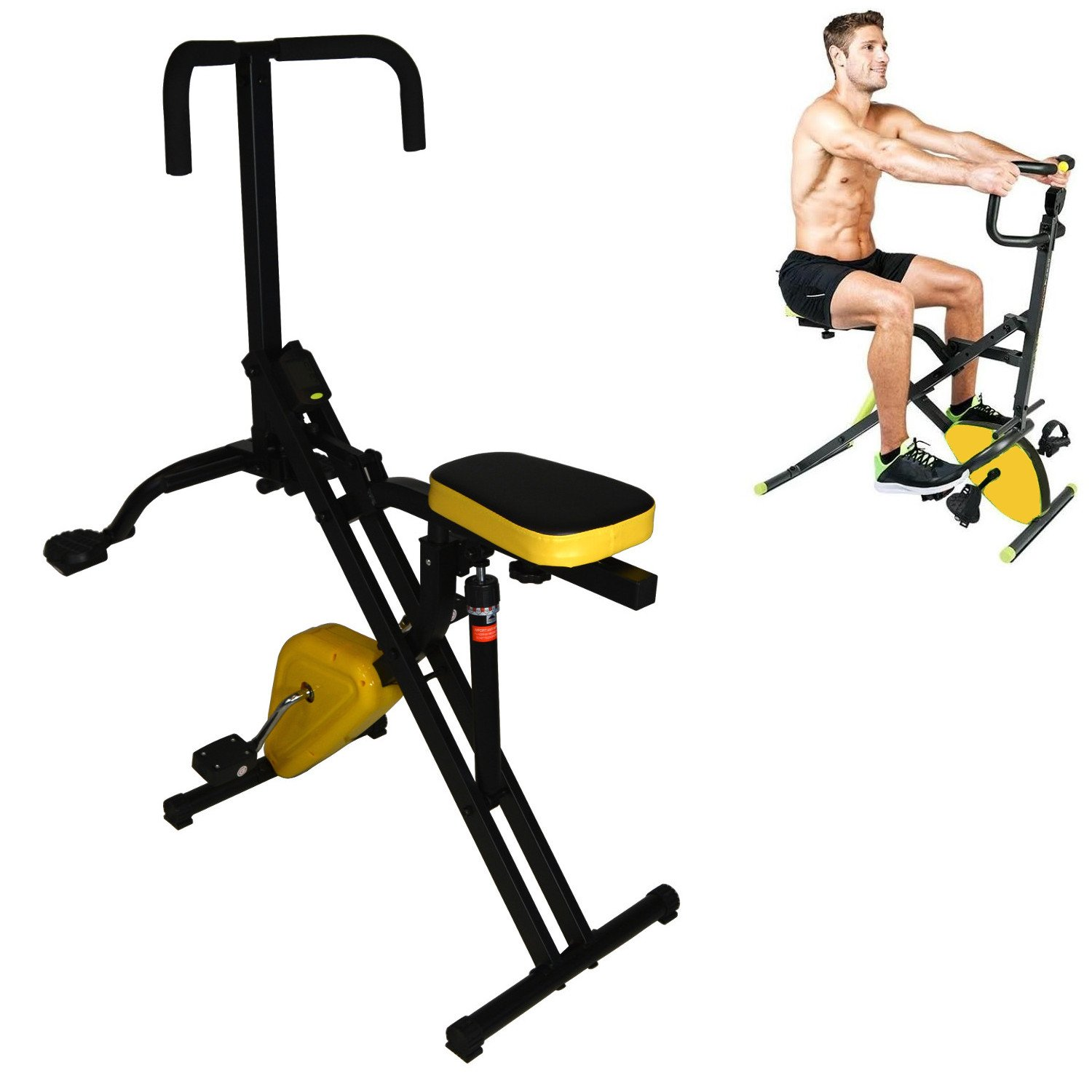 Total Crunch 2 in 1 Horse Rider with Hydraulic Resistance and Stationary Exercise Pedal Bike