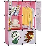 LANGRIA 6-Cubo Armadio Modulare Bambini per la Sistemazione di Stoccaggio Extra Large con Stendibiancheria, Mobili per Vestiti (6-Cubes)