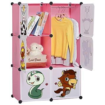 langria armoire penderie 6 cubes tagre diy modulable avec portes avec dessins animaux meuble sparateur de