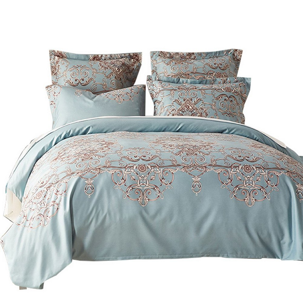 Luxury 120 gsmソフトジャカードマイクロファイバーSanding 3点羽毛布団カバーセット寝具セット(布団カバー1 + 2枕シャム ツイン ブルー B074TBYGBJ ツイン|ブルー ブルー ツイン