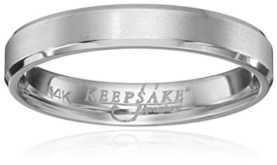 Mens Keepsake Signature 14k White Gold 4mm Wedding Band Size 10