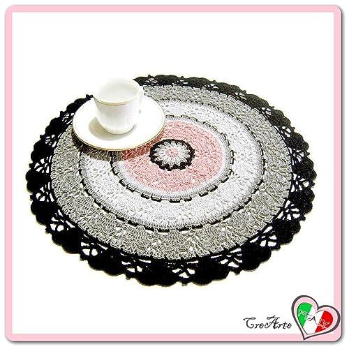 Tapete redondo rosa, gris y negro de ganchillo - Tamaño: ø ...