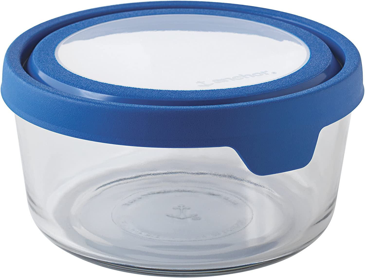 Anchor Hocking TrueSeal Glass Food Storage Container with Airtight Lid, Blueberry, 7 Cup