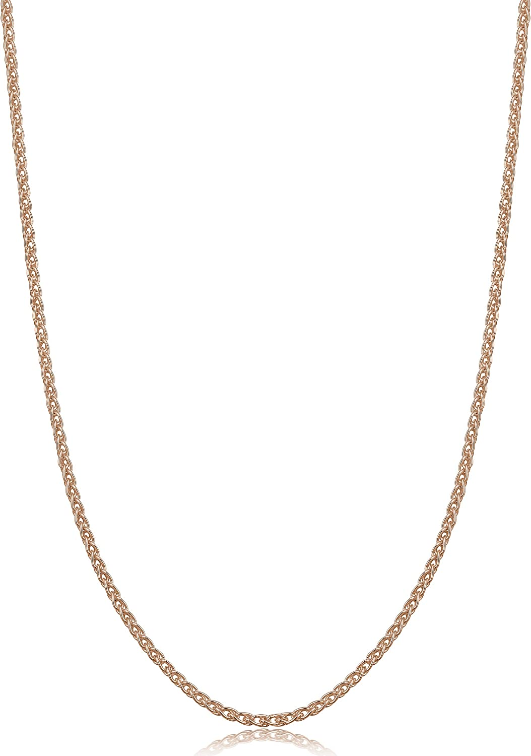 Kooljewelry Rose Gold Plated Sterling Silver Round Wheat Chain Necklace (1.5 mm)