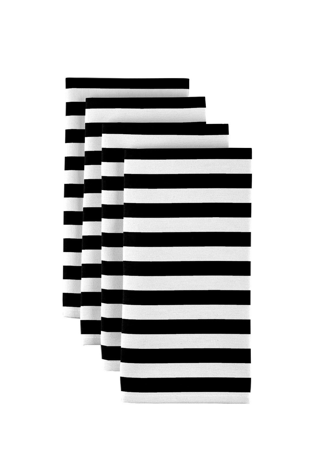 Milliken Black Small Stripes Dinner Napkins - Set of 12