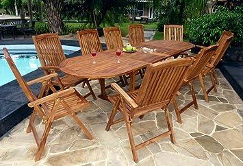 Salon de jardin avec fauteuils inclinables - 10 places: Amazon.fr ...