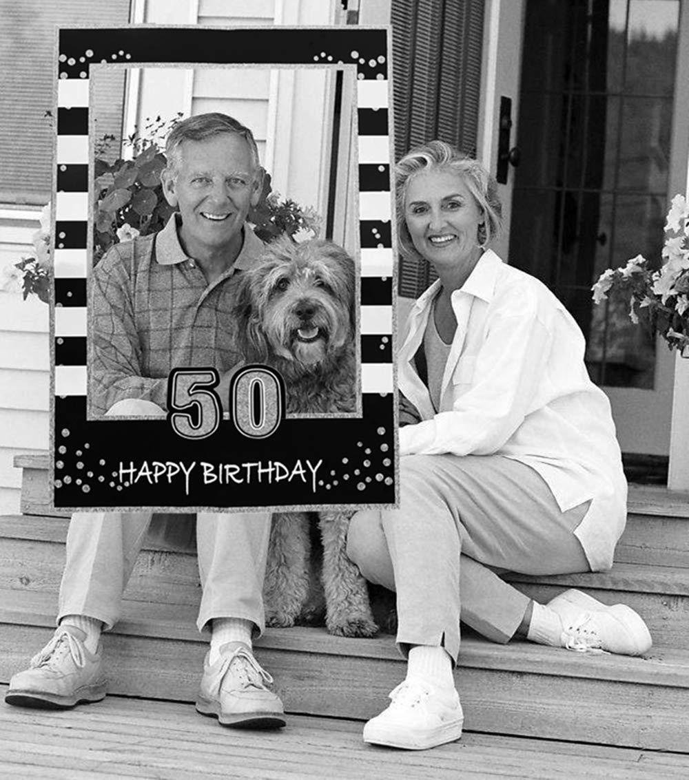 JeVenis Black Gold 50th Birthday Party Photo Booth Props 50th Birthday Photo Frame Birthday Photo Frame