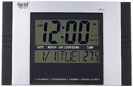 Ajanta Digital rectangular 29 cm x 19 cm reloj de pared para el hogar y la