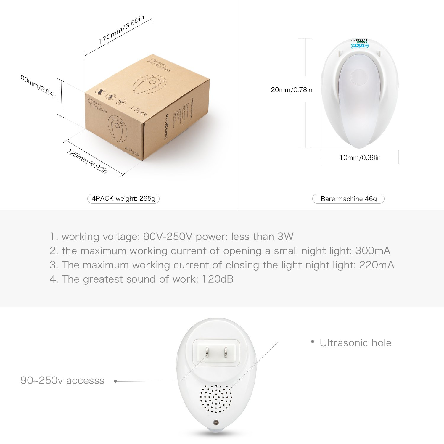 Pest Repeller Ultrasonic Insects Repellent Bug Zapper Electronic Control Plug with Night Light for home Indoor Outdoor Warehouse Get Rid of Mosquito Rat Roach Mice Spider Non-toxic Eco-friendly 4 pack