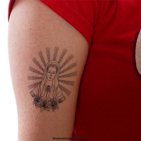 2 x Virgen María que reza como Tatuaje Temporal - Virgin Maria Tattoo (2)