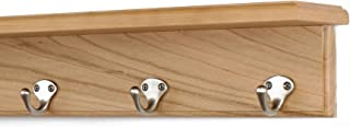 """product image for Solid Cherry Shelf Coat Rack with Satin Nickel Single Style Hooks (Natural, 16"""" with 3 hooks)"""