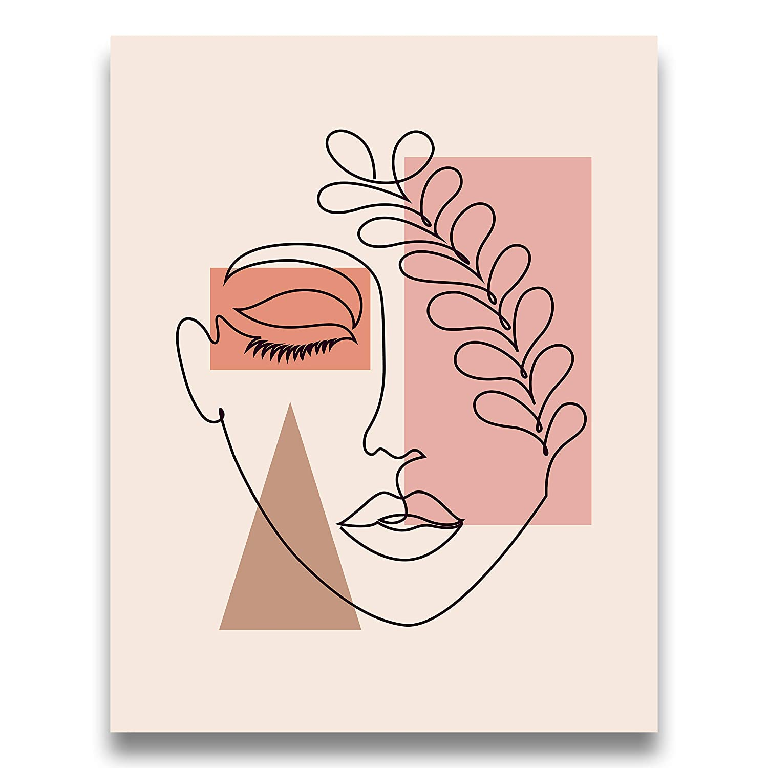 Pink, Tan, Coral, Brown Abstract Botanical One Line Woman Wall Art | Neutral Beige 11x14 UNFRAMED Print - Lovely Female Face Decor
