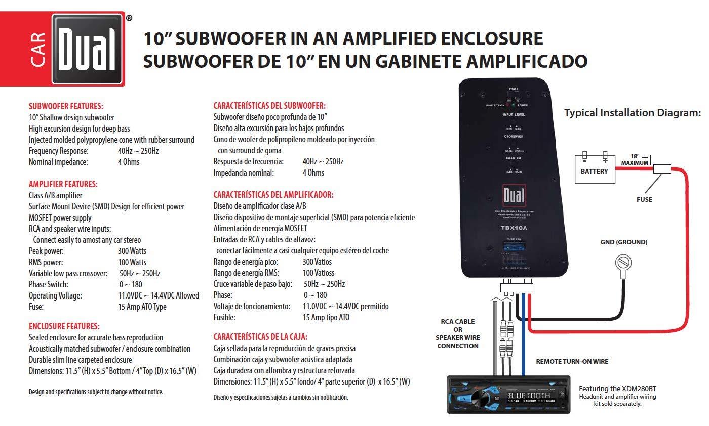 Amazon Com Dual Electronics Tbx10a 10 Inch Shallow High
