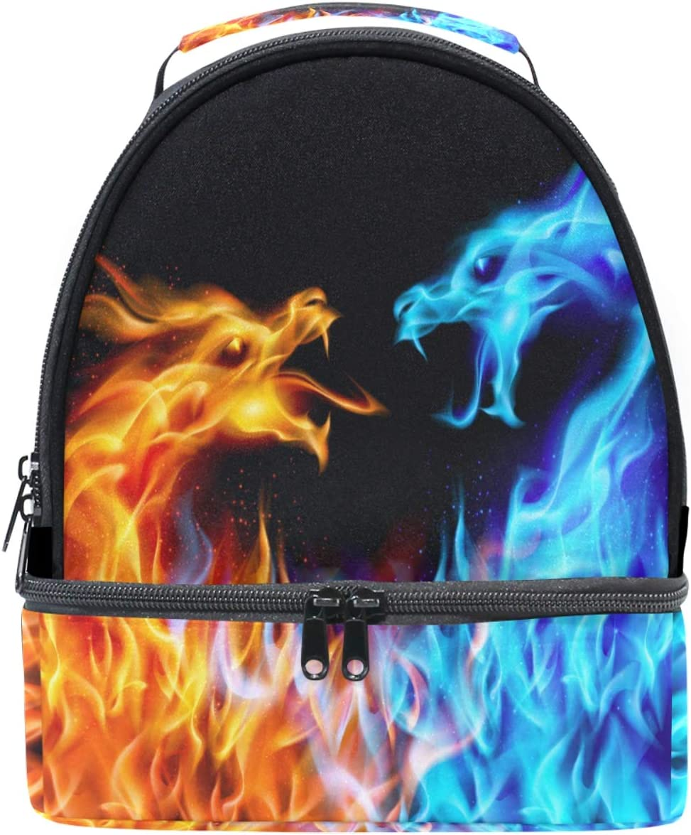 Naanle Abstract Blue and Red Fiery Dragons Double Decker Insulated Lunch Box Bag Waterproof Leakproof Cooler Thermal Tote Bag Large for Men Women Youth