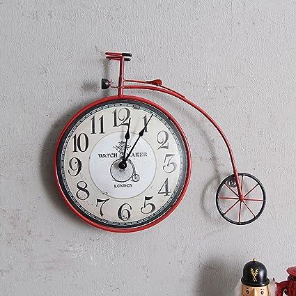 XXBF Vintage Americano Relojes De País Sala De Estar Dormitorio Creativa Bicicleta Reloj De Pared Personalizada