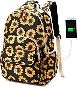 CAMTOP School Backpack for Girls Teens Sunflower Bookbag with USB Charging Port 15 Inch Laptop Bag for Women (6058/Sunflower Orange)