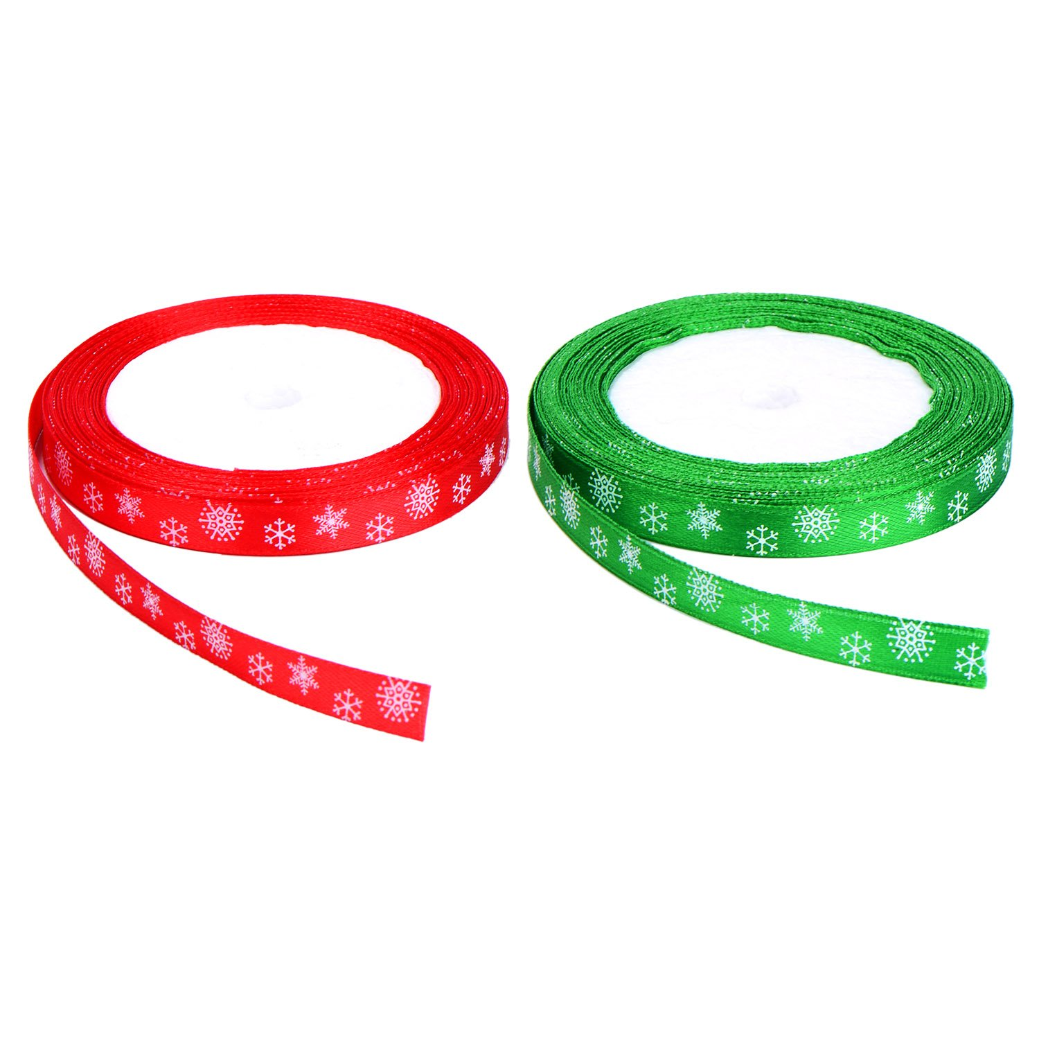 Total 40 Meters (10 mm Wide) Christmas Satin Ribbon with Snowflake Pattern (Red and Green) Shappy